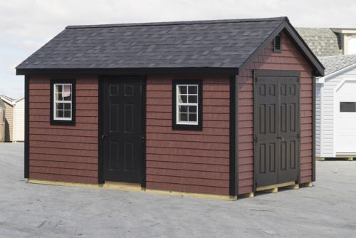 10x16 New England Series Cape with Vinyl Shake Siding and Fiberglass Doors