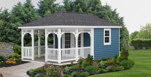 12x20 Signature Series Villa with Porch, Vinyl Shake Siding, Victorian Railings